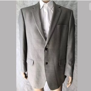 Calvin Klein Gray Plaid Suit Jacket Sport Coat 44L